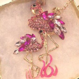 Betsey Johnson  Rhinestone FLAMINGO Necklace
